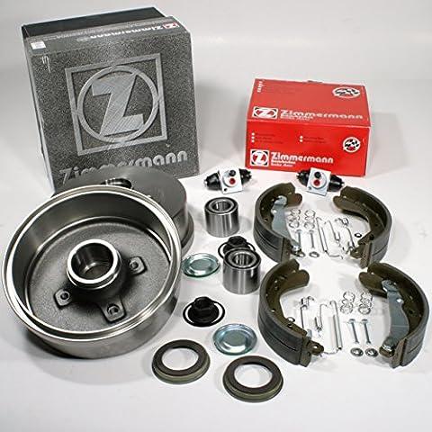 Opel Corsa C - Zimmermann Bremstrommeln + Bremsbacken mit ABS Ring + Zubehör + Radzylinder + Radlager für hinten / die Hinterachse