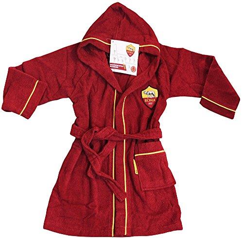 Neue Bademantel mit Kapuze offizielle AS Roma TG 468101214gelb rot 100% Micro Schwamm Puro Baumwolle Baby Kind ANNI 4/6