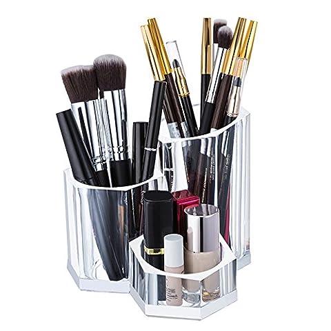 Choice Fun Fournitures Acrylique Organisateur Maquillage Bureau Organisateur Bureau Rangement pour Pinceau de Maquillage Pen