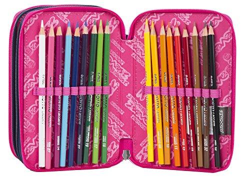 Estuche Escolar 3 Pisos – Seven – Ethnic – Multi Compartimentos con lápiz, rotuladores, boligrafos… Rosa Violeta