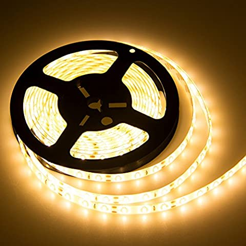 CMC LED Light Lamp® LED Strip Lights SMD 3528 16.4 Ft (5M) 300leds 60leds/m Warm White Flexible Rope Lighting Tape Lights in DC Jack for Boats, Bathroom, Mirror, Ceiling