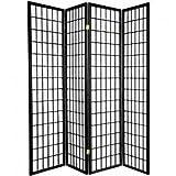 Fine asianliving divisor de espacios–Biombo plegable Protector de pantalla plegable japonés Shoji pantalla de papel de arroz 4pantallas de Panel de panel muebles decoración del hogar negro estilo japonés de Asia Oriental (papel de arroz)