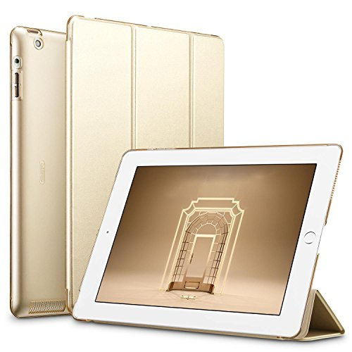 ESR iPad 2/3/ 4 Hülle, Auto Aufwachen/Schlaf Funktion Wickelfalz PU Ledertasche mit Durchschaubar Rückseite Schutzhülle für iPad 2 3 4 (Gold)