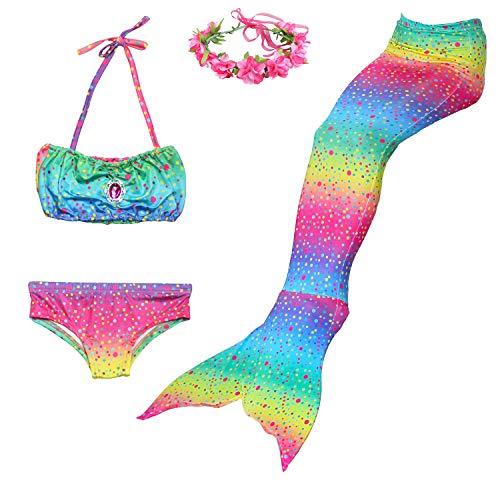 Romance Zone Cola de Sirena para Natación 4pcs Traje de Baño Mermaid Bikini Establece Disfraz de Sirena...