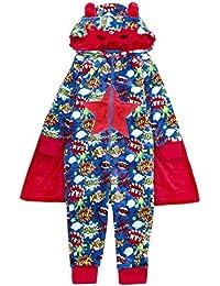 Boys Superhero Onezee Cape Hooded Mask Novelty Fancy Dress Nightwear 2-6 Years Sleepwear Xmas Gift