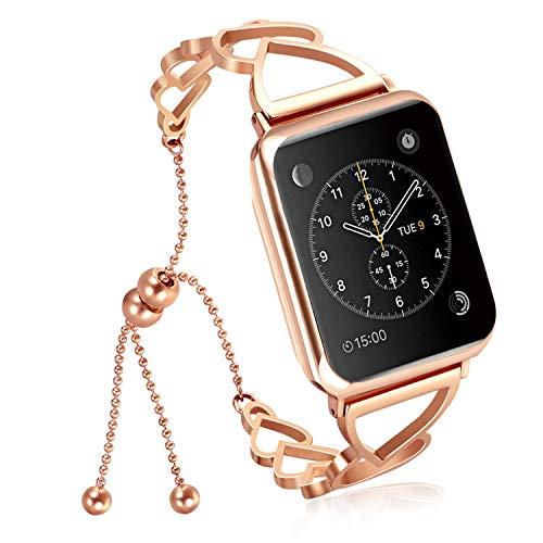 Nike Sport-uhren Frauen (NikoStore Bands für Apple Watch Series 3 38mm,Roségold Damen Edelstahl Sport Uhrenarmband für iWatch Series 4 40mm Series 3/2/1 38mm Sport Edition)