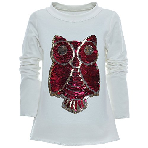 BEZLIT Mädchen Wende-Pailletten Long Shirt Bluse Pullover Langarm Sweat Shirt 21005 Weiß Größe 140