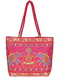 Best Shop Handbag Mirror Pink Indian Ethnic, Handicrafts, Tote Bags India Multipurpose Bag (Black, 12 Inch)