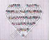 Crisnails Estantería de 6 Baldas Esmaltes de Uñas Rack Soporte/Organizador Art Dispaly Set, Ornate y de Pájaros Diseño de Árbol Redondo de Metal Montaje en Pared, (Blanco)