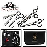 BeautyTrack - Tijera profesional para peluquería Juego de 6 piezas - Tijeras para adelgazar - Tijeras para salón - Hoja de afeitar - Maquinilla de afeitar
