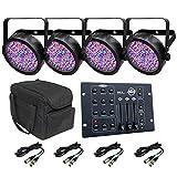 CHAUVET DJ 4 Slim-Par 56 LED Lights Carry Bag RGB3C Controller 4 DMX Cables