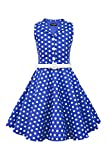BlackButterfly Kinder 'Holly' Vintage Polka-Dots Kleid im 50er-J-Stil (Königsblau, 13-14 J / 158-164)
