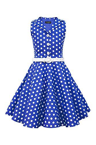 BlackButterfly Niñas 'Holly' Vestido de Lunares Vintage Años 50 (Azul Cobalto, 9-10 Años)