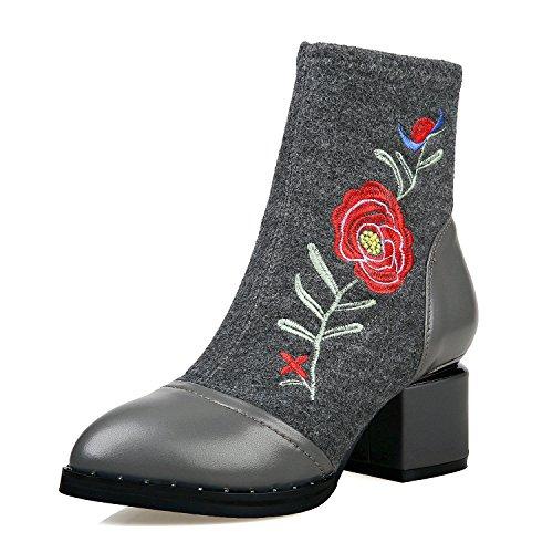 MEI&S Ricamo le donne nude stivali scarpe stile nazionale ruvida tallone tubo corto Grey