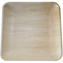 Pack de 25platos, platos desechables Eco-friendly hecho de Palm Hojas–25cm cuadrado, resistente, elegante