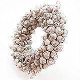 Naturkranz Deko-Kranz groß Ø 40cm in white wash, gefertigt aus Kokos-Früchten. Türkranz zum hängen oder als Tischdekoration im Shabby chic Design, zeitloses Wohnaccessoires als Natur-Deco von Glaskönig