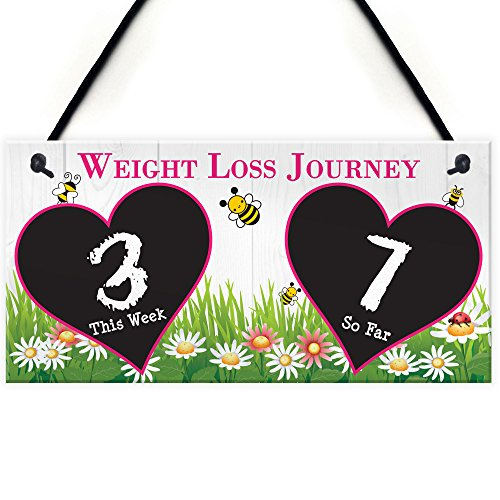 Red Ocean Weight Loss Tracker Chalkboard Journey Hanging Plaque Gift Slimming World Sign Countdown