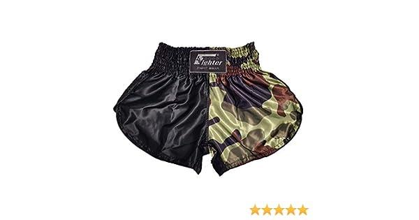 4Fighter Short Muay Thai Classique Noir Camouflage Marron Vert avec Fentes Hautes