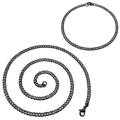 SoulCats® collier chaîne-maille + bracelet acier affiné noir SET, épaisseur:3 mm, choix:collier 70 cm + bracelet, couleur:noir