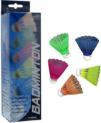 Best - Volantes de bádminton, 10 unidades, multicolor