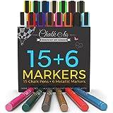 Rotuladores de tiza líquida y colores metálicos–Juego de 21rotulador de tiza–para tablones de