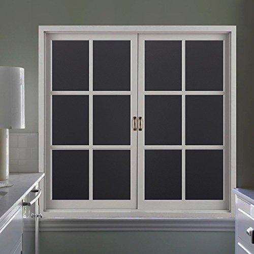 Rabbitgoo Statische Fensterfolie Glasdekorfolie Sichtschutzfolie statisch selbsthaftend Anti-UV Upgrade, Schwarz 44.5 x 200 cm