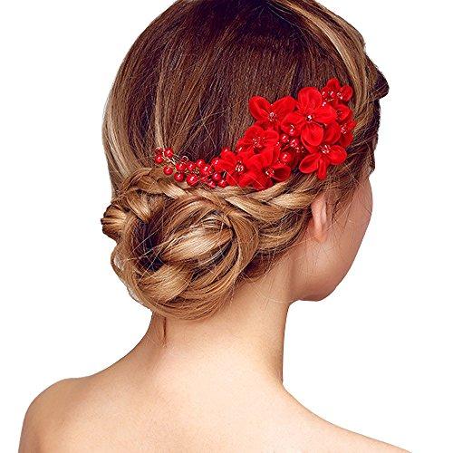 Contever Tüll Blume Sicke Simulierte Perlen Braut Haarkämme Hochzeit Haarschmuck für Brauthochzeits Abschlussball Partei - Rot