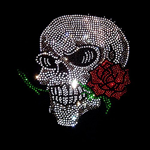 Skull Shirt Damen Totenkopf mit Rose elegantes Damen Strass Shirt Karneval Fasching Kostüm Schwarz