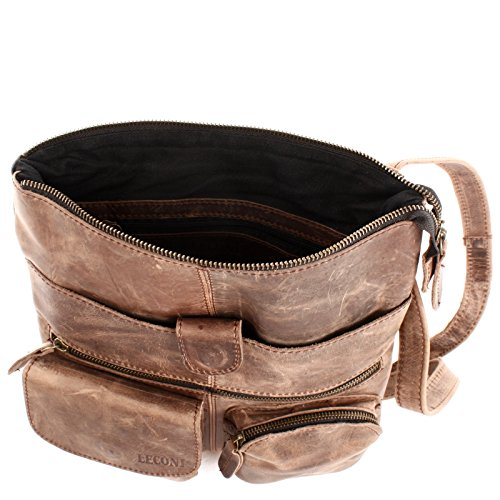 LECONI Umhängetasche Rindsleder kleine Schultertasche Damen Herren Vintage Look Ledertasche 28x30x5cm LE3011 schlamm