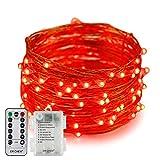 Erchen Batteriebetrieben LED Lichterkette, 33 FT 100 LED 10M dimmbare Kupfer Draht Lichterketten mit Fernbedienung 8 Modi Timer für Innen Außen Weihnachten Party (Rot)