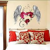 (Hjcmhjc) Große Blume Engel Flügel Wandaufkleber Wand Papier De Parede Vinyl Hochzeit Wandtattoos Schlafzimmer Wohnzimmer Wan