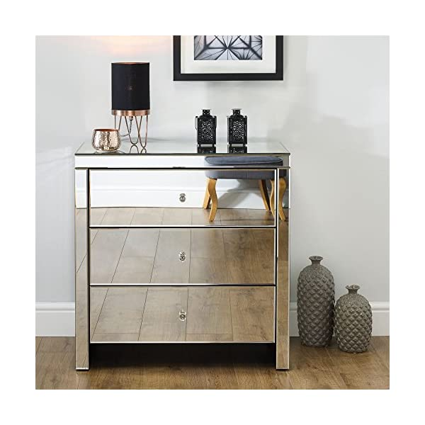 Mirrored Bedroom Furniture, Happy Beds Seville Silver 3 Drawer Chest - Height 82 cm, Width 80 cm, Depth 40 cm Happybeds Height: 82 cm, Width: 80 cm, Depth: 40 cm; Modern mirrored bedroom chest of drawers Elegant and ergonomic crystal style handles 3 deep storage drawers perfect for clothes, towels or bedding 2