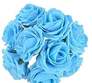 Ruichy PE artificiale schiuma rosa bouquet da sposa Mazzi per decorazione di cerimonia nuziale, confezione da 10 pezzi Blu