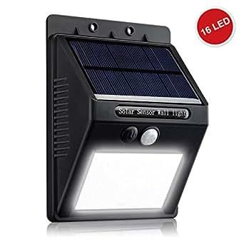 ZEEFO Solarleuchte Garten 1 Stück, wetterfeste solarbetriebene 16 LED Solarlampe mit Bewegungssensor, Solar Wandleuchte für Innenhöfe, Balkone, Terrassen, Garagen, Einfahrt und Treppen. (Schwarz)