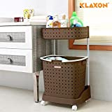 #6: Klaxon Laundry Basket - Plastic Cloth Storage Laundry Basket (Brown)