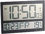 infactory Große Digitale Wanduhr: Digitale Wanduhr mit Jumbo-LCD-Display, Innentemperatur-Anzeige (Digitale LCD Funk Wanduhren)