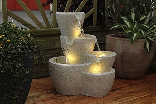 Gartenbrunnen Taverna mit LED-Beleuchtung Springbrunnen Wasserspiel Terrassenbrunnen