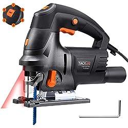 Scie Sauteuse, Tacklife 800W 3000SPM, Équipé de Guide Laser, Angle Max 45°, 6 Vitesses réglables | PJS04A