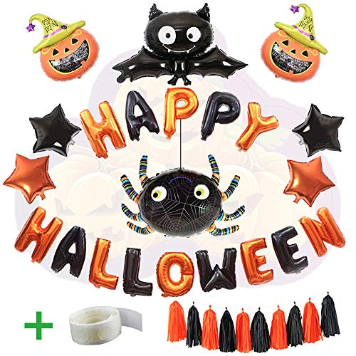 WLZP Halloween Party Ballons, 24 Pack Halloween Party Dekorationen einschließlich Happy Halloween Banner Folie Brief Ballon für Party Supplies für Halloween Trick (Ballon Dekoration Halloween)