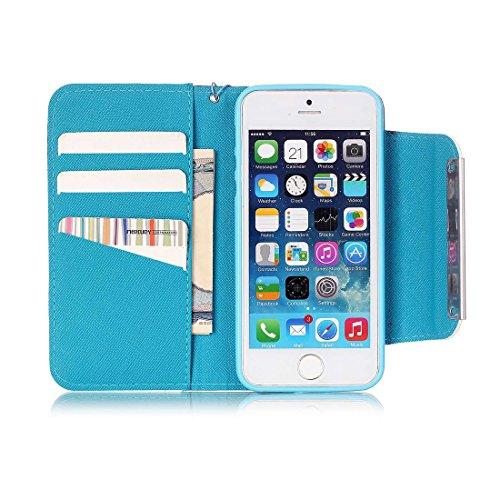 Yaking® Apple iPhone 5/5S/SE Coque, (3 in 1) PU Portefeuille Étui Coque Stand Flip Housse Couvrir Case Cover pour Apple iPhone 5/5S/SE avec 1 X Stylet + 1 X Strass Bouchon Anti-Poussière Photo-3