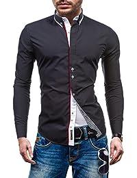 BOLF Herren Langarm Herrenhemd Figurbetont Freizeit Classic Slim Fit 6857