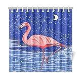 JEOLVP Wohnkultur Bad Vorhang Rosa Flamingo Mit Wasser Schnee Mond Polyester Stoff Wasserdicht Duschvorhang Für Badezimmer, 72 X 72 Zoll Duschvorhänge Haken Enthalten