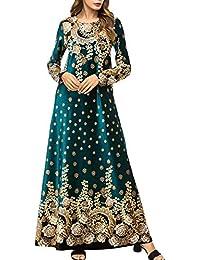 Mujeres Musulmán Árabe Maxi Vestidos Casual Floral Vintage Boho Slick Vestido