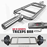 We R Sports® Olympic Chrome Triceps Bar With Spring Collar Gym Fitness Training Hammer Curl