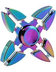 Hand Spinner,Tefamore Rainbow Aluminium Metal Tri Hand Finger Spinner Fidget EDC Desk Toy Gyro