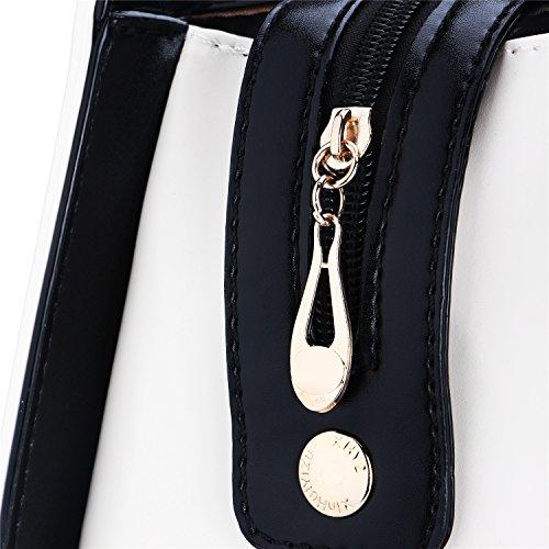 Moda Borse Donna con Fiocchetto Borse a Mano e a Spalla in Eco Pelle per Shopping e Lavorate e Party 30*22*12cm - LATH.PIN (Viola) Bianco