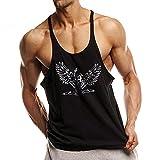 Alivebody Männer Ärmelloses Bodybuilding Weste Tank Top Undershirt Schwarz M
