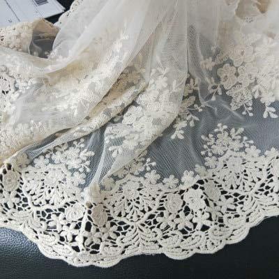 fatianzheng Beige/natürliches Weiß weit vorzügliches Cotton100% Tuch-Stickerei-Spitze-Ordnungs-DIY Zusatz-Spitze-Gewebe-Breite 36cm 3Yds / Lot,Beiges Maschentuch, 9-10 Yards -