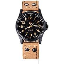 relojes hombre vovotrade Vintage clásico cuero de los hombres a prueba de agua de la correa