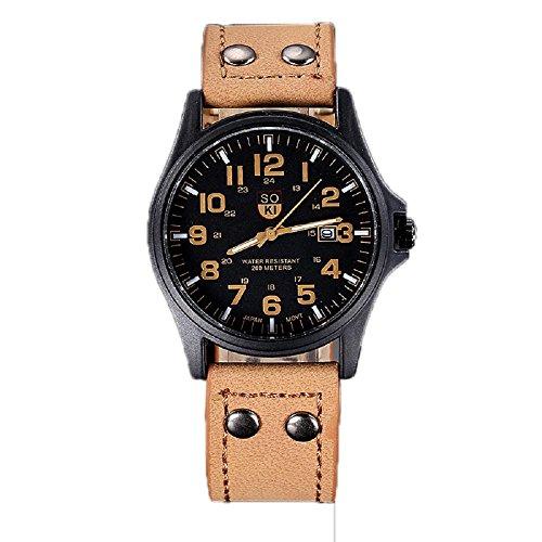 relojes hombre vovotrade Vintage clásico cuero de los hombres a prueba de agua de la correa de reloj del deporte del Ejército (caqui)